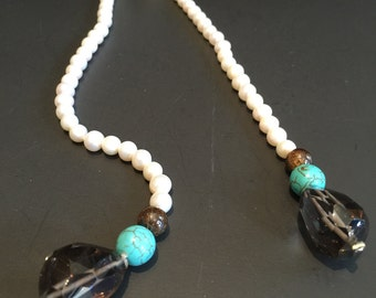 Lovely Turquoise, Faceted Quartz and Freshwater Pearls Lariat Necklace