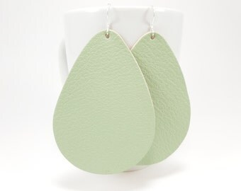 Leather Earrings - Mint Julep