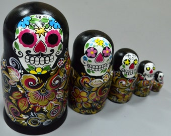 Russian Matryoshka Babushka, Wooden nesting dolls, Sugar Skull, Day of Dead, handmade