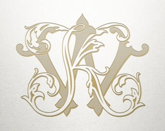 Vintage Wedding Monogram - KW WK - Wedding Monogram - Digital
