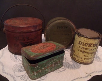 Antique Advertising Tins - four Tins - 1940's - and up (#481,2,3,4)