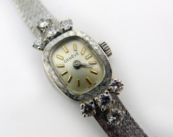 Vintage Ladies White Gold and Diamond Geneve Watch - 14 Karat