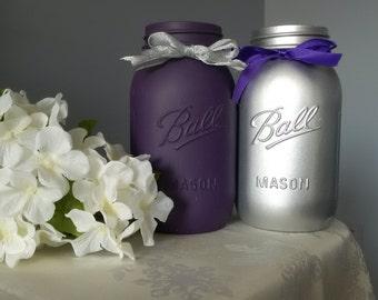 2pc Set Centerpiece - Purple and Silver