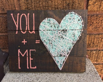 You + Me = Heart String Art Wall Hanging