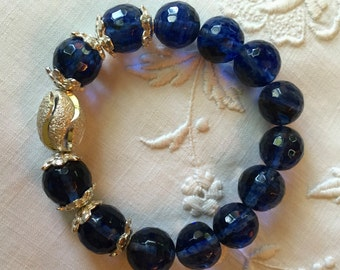 Facated Blue Rock Crystal Bead Bracelet
