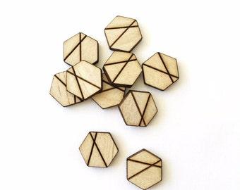 10x HEXAGON WOOD CUTOUT - Laser Cut Hexagon Natural Wood Shape With Engrave Detail 15mm