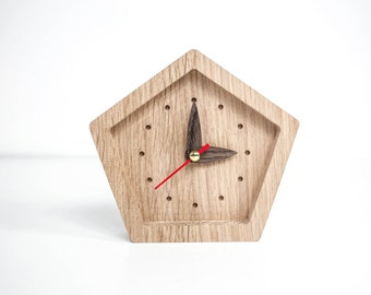 Small table clock - Oak mini clock - Angular desk clock - Wooden table clock - Star shape small clock - Tabletop clock  Standing table clock
