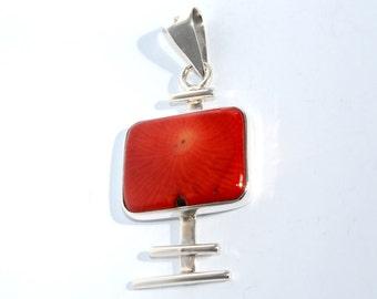 Silver Pendant Coral Rojo