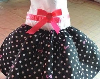 Black Polka Dot with Pink Bow