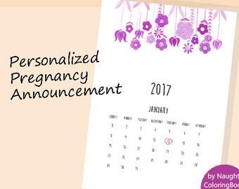Pregnancy Announcement, Personalized  Pregnancy Announcement, Gender Reveal, Printable Calendar, Pregnancy Reveal, Baby Girl Announcement