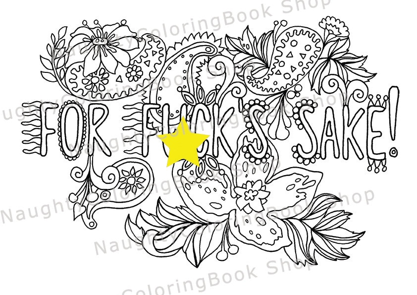 For Fuks Sake Swear Words Printable Coloring Pages