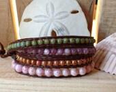 4 Wrap Brown Leather Bracelet - Glass & Lepidolite