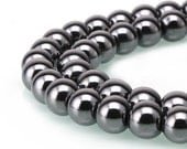 Natural Hematite Smooth Round Loose Beads Size 3mm/4mm/6mm/8mm/10mm/12mm/14mm 15.5'' Long Per Strand。R-S-HEM-0114