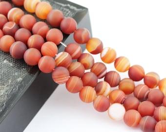 Matte Red Stripe Agate Gemstone Round Loose Beads 15.5 Inch per Strand, Size 8mm/10mm.R-M-AGA-0043