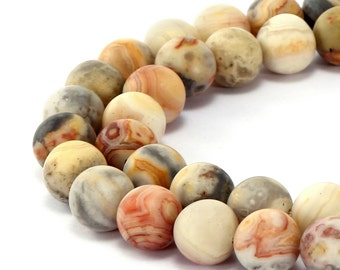 Matte Round Well Polished Crazy Agate Gemstone Loose Beads 15.5 Inch per Strand, Size 6mm/8mm/10mm/12mm R-M-AGA-0005