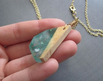 Handmade Resin and Wood Necklace, Long Pendant Necklace, Turquoise and Wood Necklace