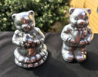 Bride and Groom Teddy Bear Couple. Paper Weights.