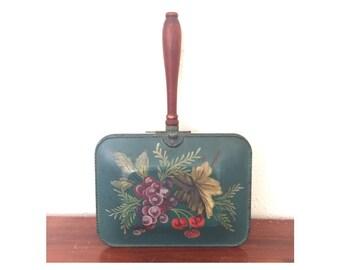 1950s Vintage Silent Butler • Antique Evergreen  Floral Dustpan
