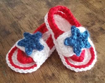 Crochet Baby Strap Flip Flops, Size 0-3 Months