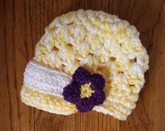 Crochet Baby Girl Chunky Bucket Hat Size 0-3 Months