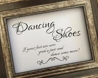 Dancing Shoes Elegant Wedding Sign,Flip Flop Wedding Sign,5x7 Wedding Sign,Printed Wedding Sign(WS-B25)