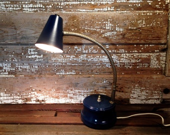 Vintage Desk Lamp small navy blue with gold accents