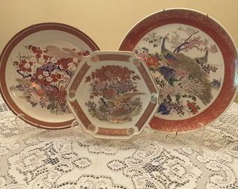 Japanese Satsuma Collectible Vintage Porcelain Plate Lot with Peacocks and Cherry Blossoms Hand Painted Gold Gilding Imported