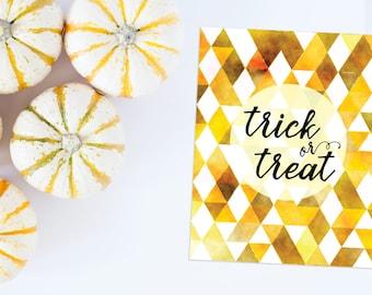 Trick or Treat printable art | Halloween decor | instant Halloween printable | digital download Halloween print | Halloween art download