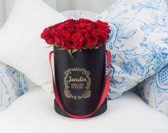 25 Red Roses in Black Signature Hat Box