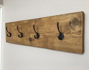 Rustic Coat Hanger / Wall Rack Made From Reclaimed Scaffold Board & Cast Iron Hooks - Industrial Farmhouse