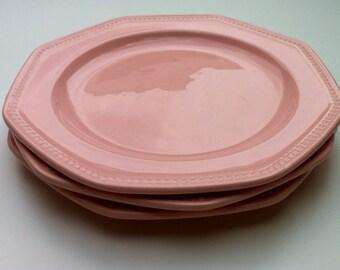 Set of 3 pink dessert plates Longchamp