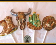 Chocolate Cowboy/Western  Lollipop Set of 4/Male Chocolate/Chocolate Lollipop/Texas/Arizona/Cactus/Rancher/Country and Western/Male/Female