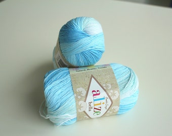 Alize Bella Batik Design Cotton Yarn - Sky Blue Shades, Turkish Cotton Yarn, Unbrushed Cotton, Classical Cotton, Not Mercerized Cotton