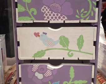 Custom Painted 3 Drawer Crate