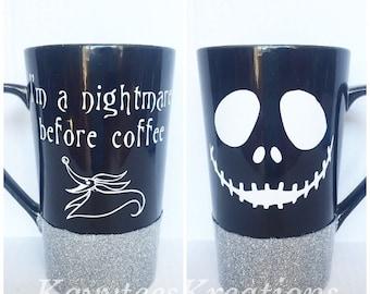 Im a nightmare before coffee // Nightmare before christmas mug // Jack Skellington cup // halloween mug // zero nightmare before christmas