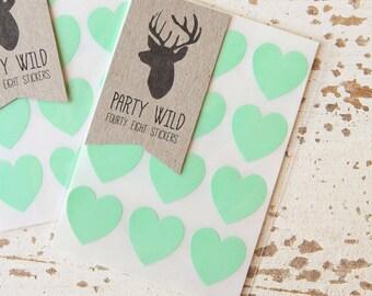 Mini Heart Stickers Pk48 - Mint Green