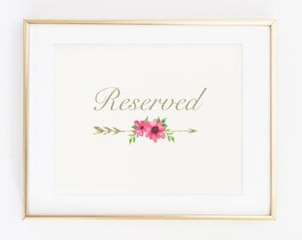 Reserved Printable Floral Sign, Art Gold Foil, Reserved Sign, Wedding Print, Wedding Sign, Table Reserved Sign, Table Sign, Reception Sign