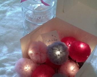 Garland light 12 tassels tulle - pink - grey - Magenta