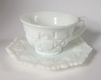"""Westmoreland Milk Glass Teacup and Saucer in """"Old Quilt"""" Pattern"""