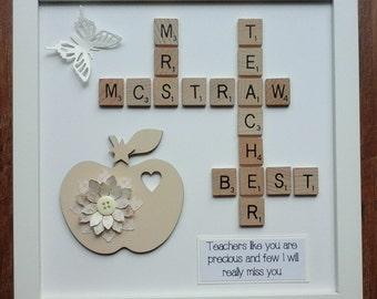 10x10 White/Black Frame Plastic/Wooden Scrabble Art Picture Best Teacher/Apple 15 Colours Personalised Thank You Leaving School Gift