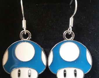 Super Mario Toadstool blue earrings