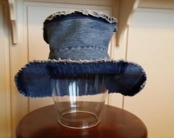 Upcycled, Dark Blue DENIM, BOHO HAT with Frayed Edge