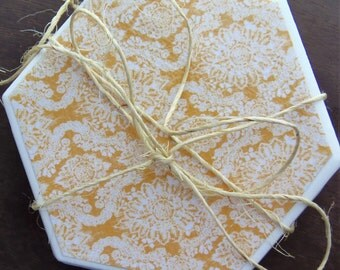 Yellow and Gray Damask Coasters