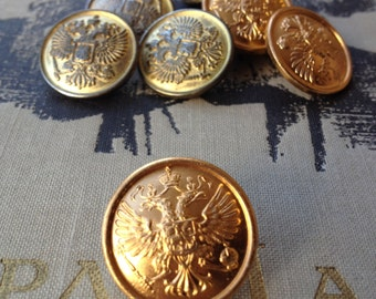 Military uniform gold color metal buttons with coat of arms. Army uniform buttons. Set of 7 shank buttons