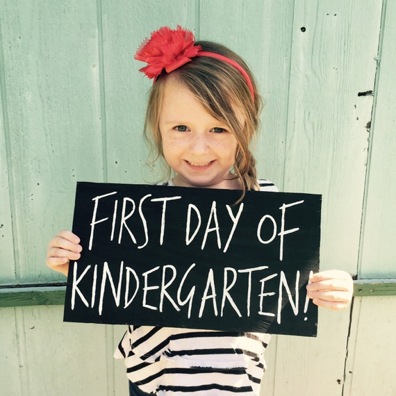 Back to School Sign - First Day of Kindergarten and Ready for First Grade - Custom Reversible wood sign photo prop - First Day of School