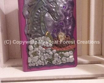Purple nesting dragon, polymer clay journal / hardback notebook
