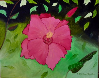 Pink/ Red  Hibiscus Flower, 16x20 inch Signed Original Oil on Canvas