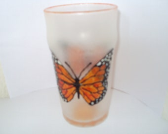 Hand painted Monarch Butterfly Pint Glass