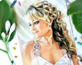Wedding Portrait Custom Portrait painting Custom Wedding Portrait to the Mother's Day  Groom Bridesmaid Wedding Dress Bridal Shower