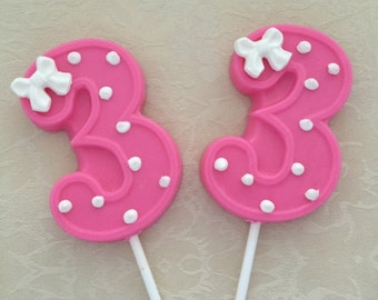 Number THREE Chocolate Lollipops- 3rd BIRTHDAY/Third Birthday Favors/Number 3 Lollipops/Birthday Party/Party Favors/Girls Third Birthday